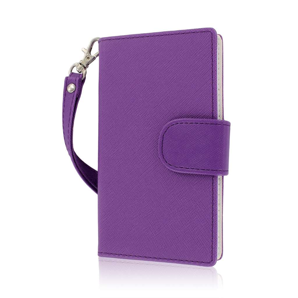 LG Splendor / Venice US730 - Purple / White MPERO FLEX FLIP Wallet Case