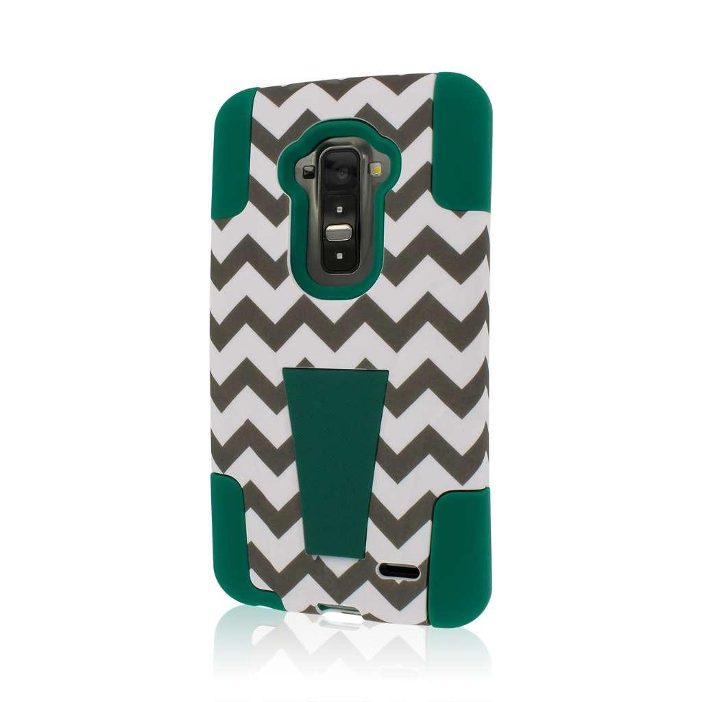 LG G Flex LS995 D950 D959 - Teal Chevron MPERO IMPACT X - Kickstand Case