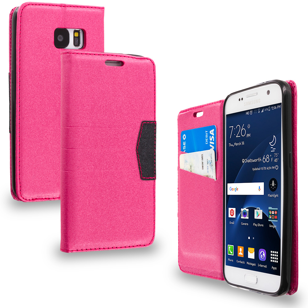 Samsung Galaxy S7 Combo Pack : Hot Pink Wallet Flip Leather Pouch Case Cover with ID Card Slots : Color Hot Pink