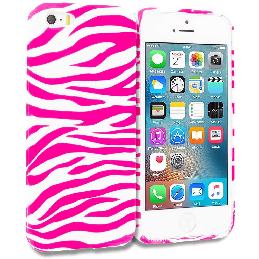 Apple iPhone 5/5S/SE Combo Pack : Pink / White Zebra TPU Design Soft Rubber Case Cover : Color Pink / White Zebra