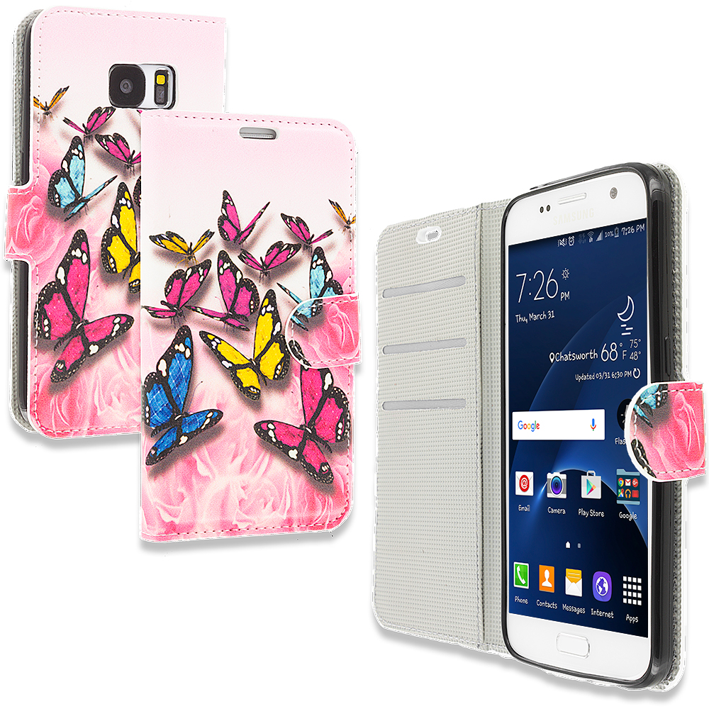 Samsung Galaxy S7 Combo Pack : Pink Colorful Butterfly Design Wallet Flip Pouch Case Cover with Credit Card ID Slots : Color Pink Colorful Butterfly