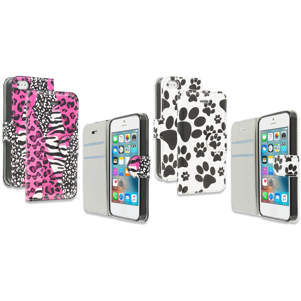 Apple iPhone 5/5S/SE Combo Pack : Bowknot Zebra Design Wallet Flip Pouch Case Cover with Credit Card ID Slots