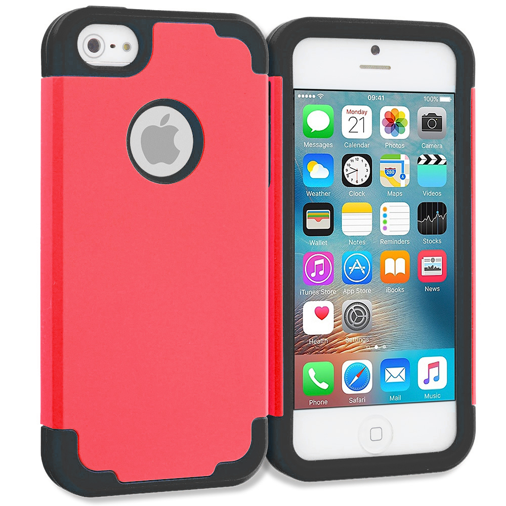 Apple iPhone 5/5S/SE Red / Black Hybrid Slim Hard Soft Rubber Impact Protector Case Cover