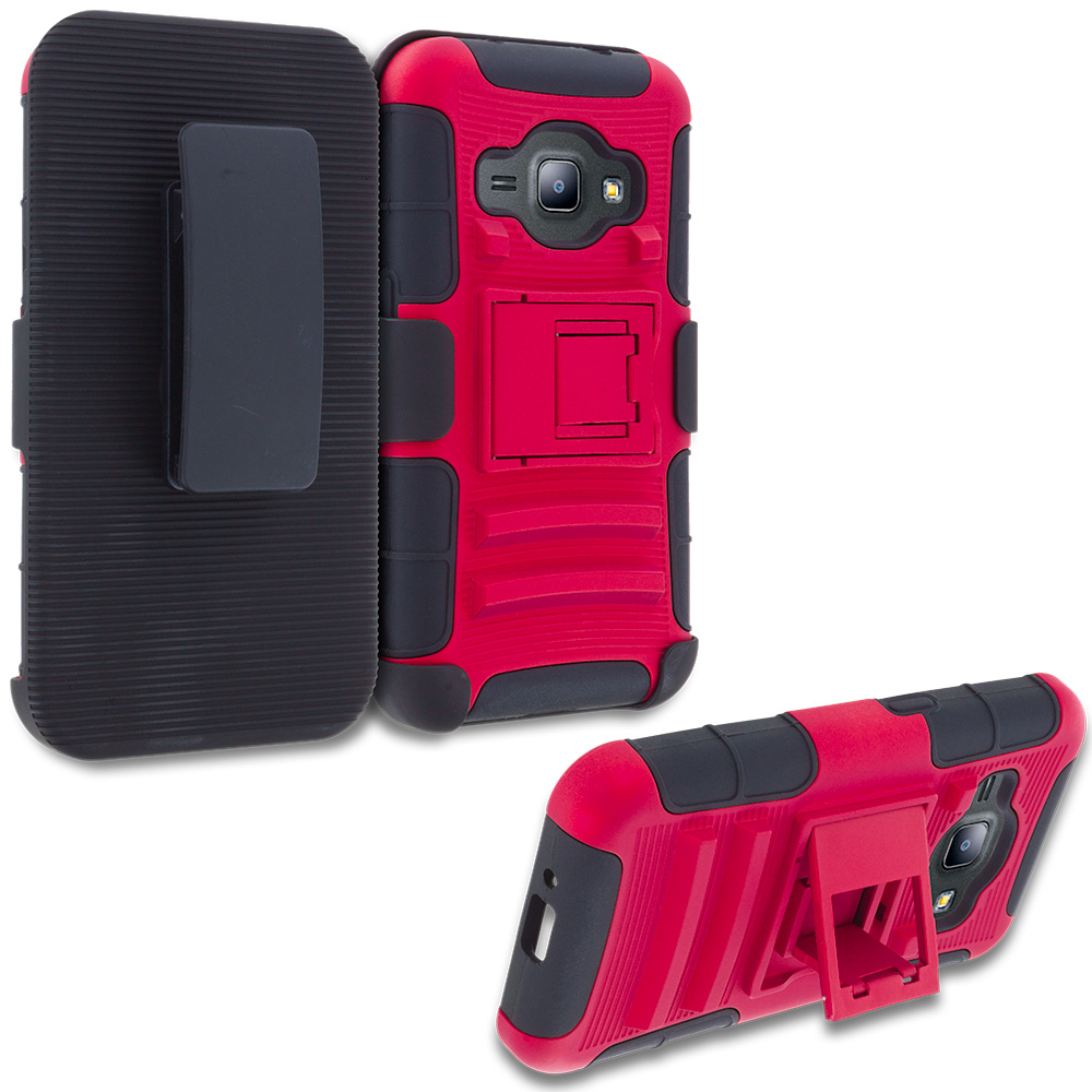 Samsung Galaxy J1 2016 Amp 2 Red Hybrid Heavy Duty Rugged Case Cover with Belt Clip Holster
