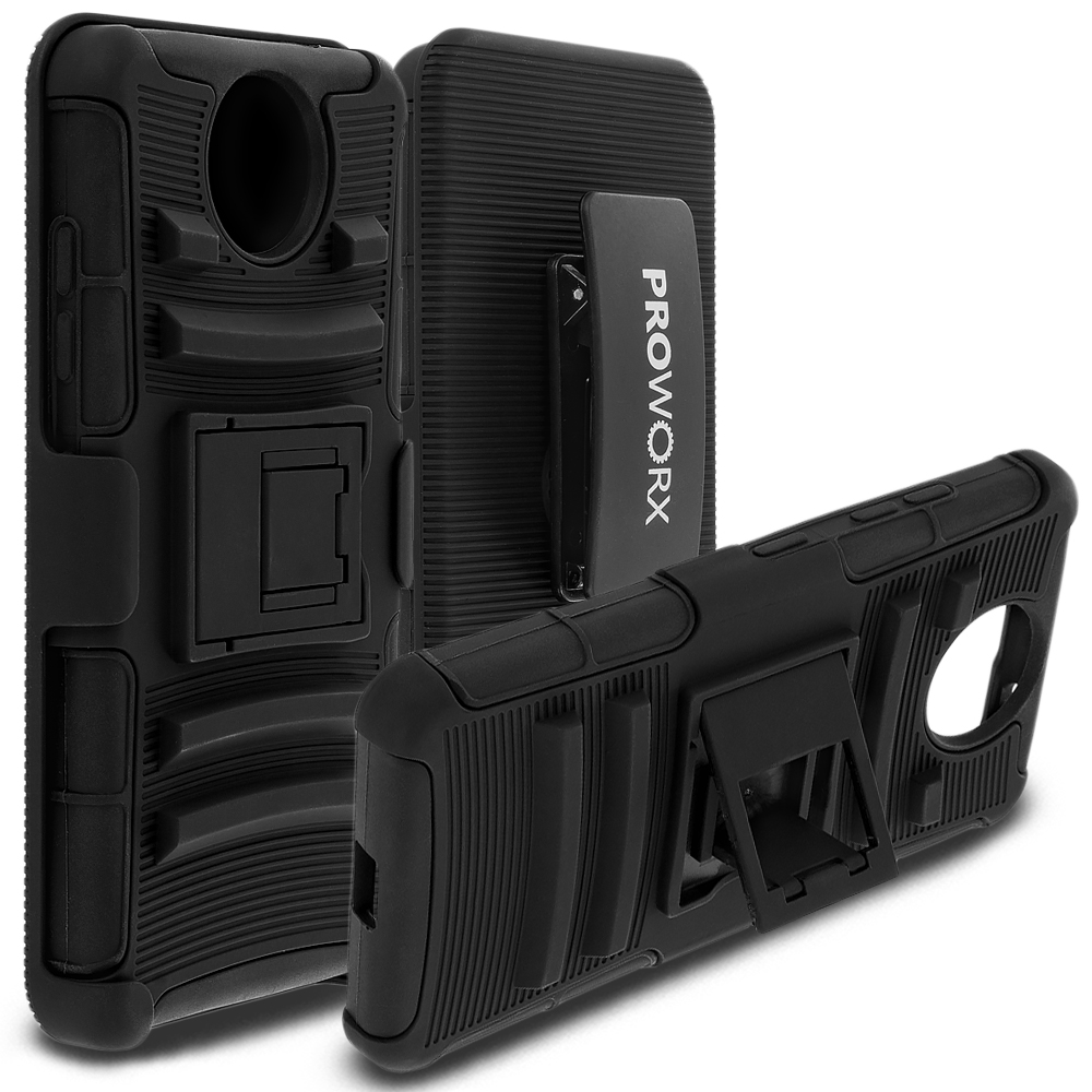 Microsoft Lumia 650 ProWorx Black Heavy Duty Shock Absorption Armor Defender Case Cover With Belt Clip Holster