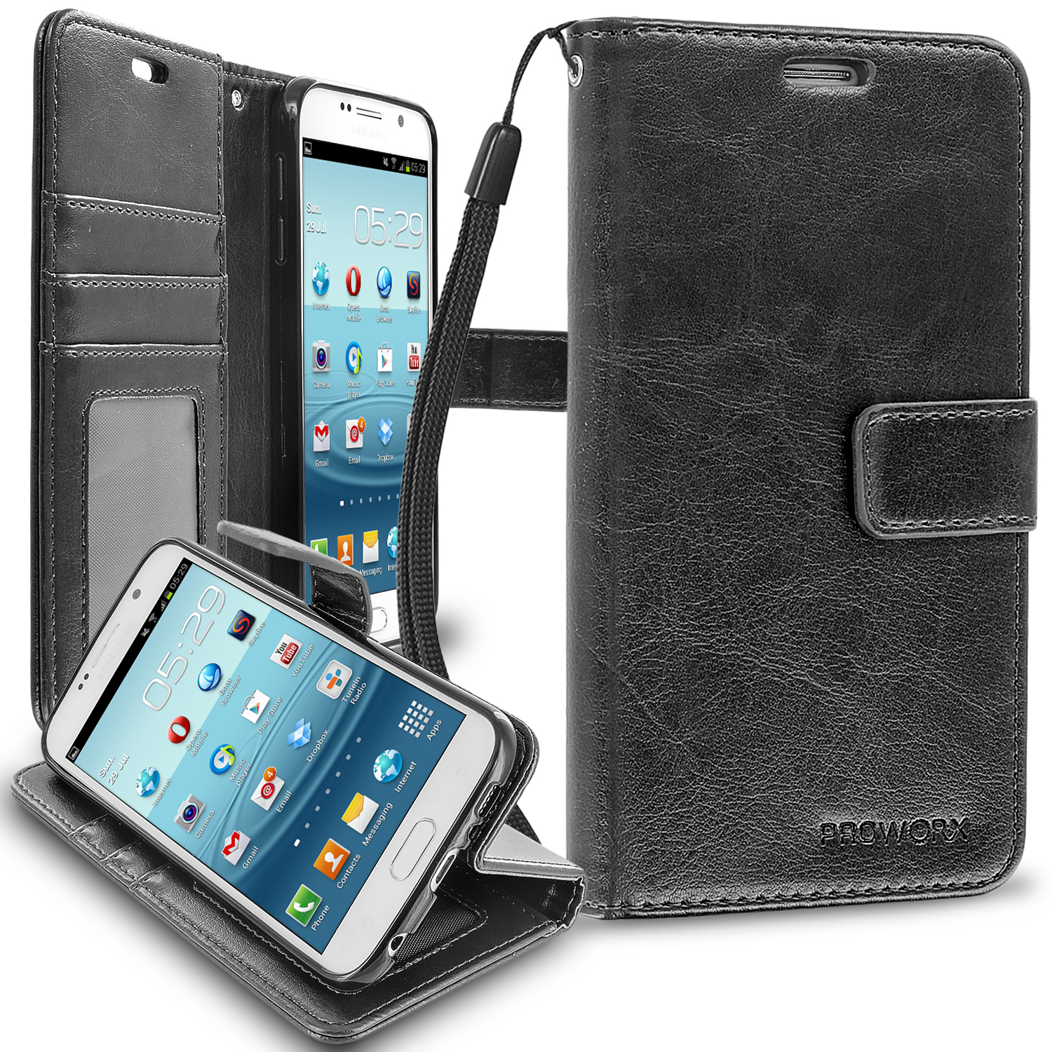 Samsung Galaxy S6 Black ProWorx Wallet Case Luxury PU Leather Case Cover With Card Slots & Stand