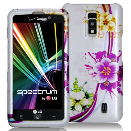 LG Spectrum VS920 Purple Flower Chain Design Crystal Hard Case Cover