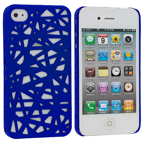Apple iPhone 4 / 4S Dark Blue Birds Nest Hard Rubberized Back Cover Case