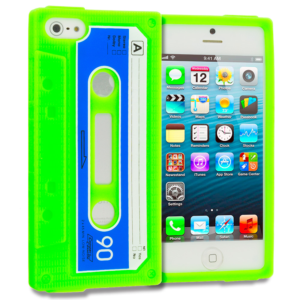 Apple iPhone 5/5S/SE Neon Green Cassette Silicone Soft Skin Case Cover
