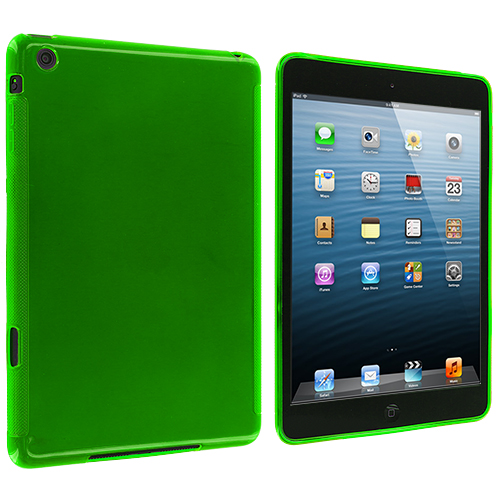 Apple iPad Mini Neon Green Plain TPU Rubber Skin Case Cover
