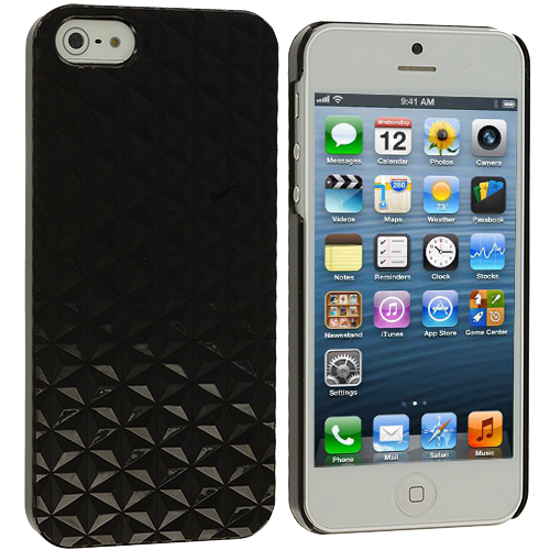 Apple iPhone 5 Black Triangle Crystal Hard Back Cover Case