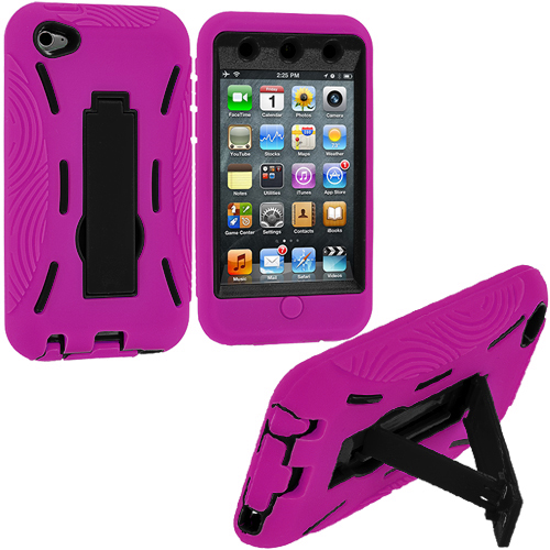 Apple iPod Touch 4th Generation Hot Pink / Black Hybrid Heavy Duty Hard/Soft Case Cover with Stand