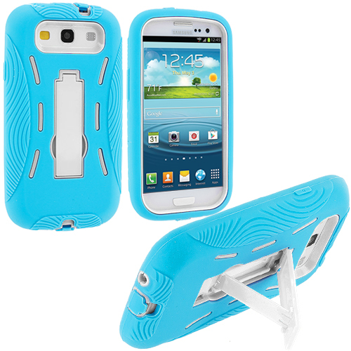 Samsung Galaxy S3 Baby Blue / White Hybrid Heavy Duty Hard/Soft Case Cover with Stand