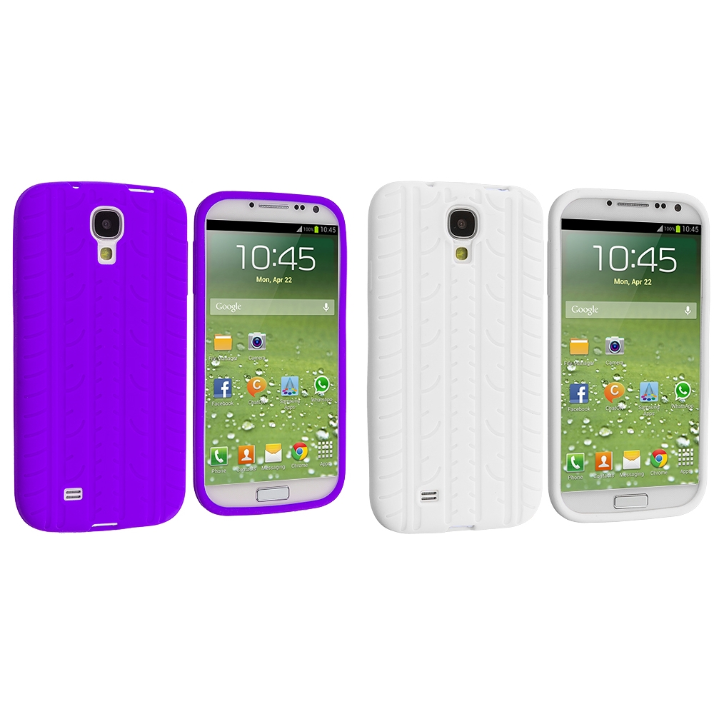 Samsung Galaxy S4 2 in 1 Combo Bundle Pack - White Purple Tire Tread Silicone Soft Skin Case Cover