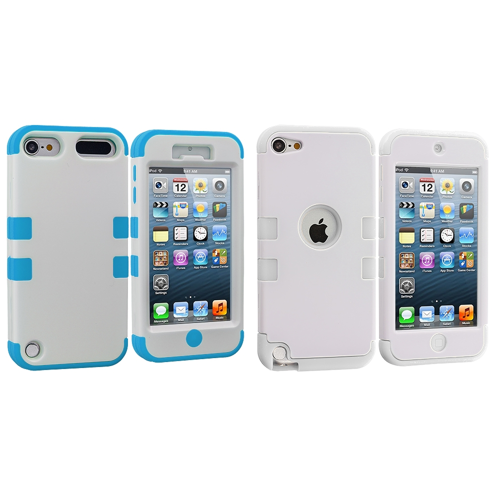 Apple iPod Touch 5th 6th Generation 2 in 1 Combo Bundle Pack - Baby Blue / White Hybrid Tuff Hard/Soft 3-Piece Case Cover