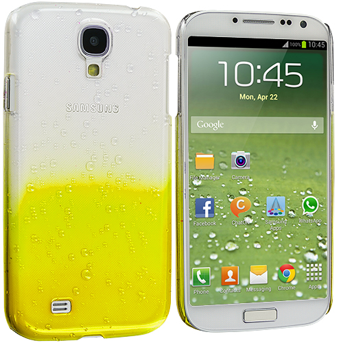 Samsung Galaxy S4 Yellow Crystal Raindrop Hard Case Cover