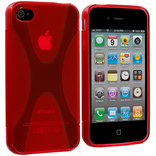 Apple iPhone 4 / 4S Red X-Line TPU Rubber Skin Case Cover