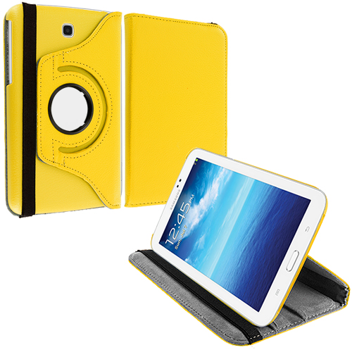 Samsung Galaxy Tab 3 7.0 Yellow 360 Rotating Leather Pouch Case Cover Stand