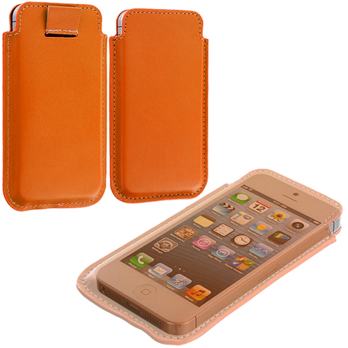 Apple iPhone 5/5S/SE Combo Pack : Blue Sleeve Pouch : Color Orange