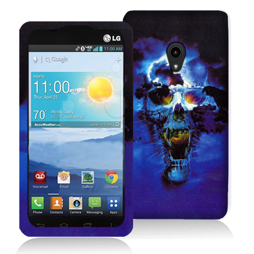 LG Lucid 2 VS870 Blue Skulls Hard Rubberized Design Case Cover