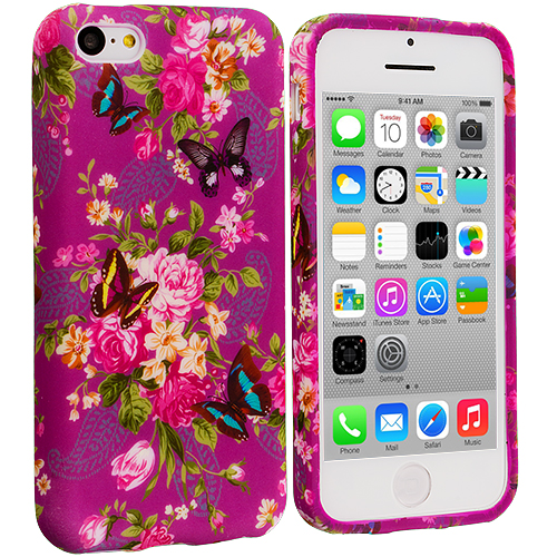 Apple iPhone 5C Purple Mixed Flower TPU Design Soft Case Cover