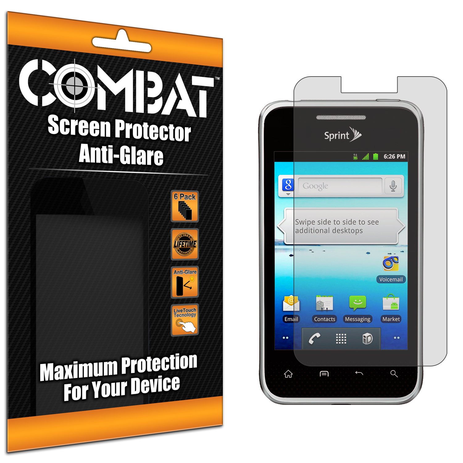 LG Optimus Elite LS696 Combat 6 Pack Anti-Glare Matte Screen Protector