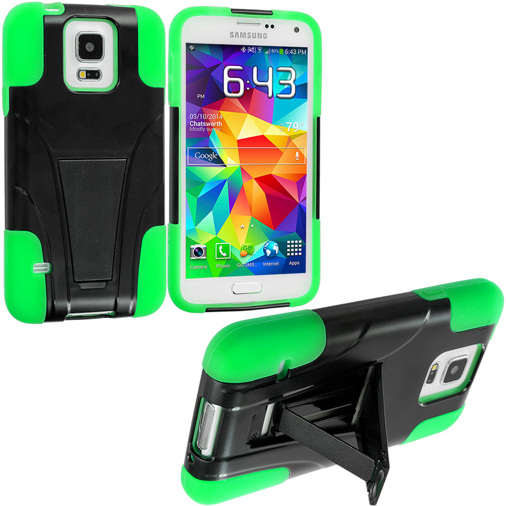 Samsung Galaxy S5 Black / Neon Green Hybrid Hard/Silicone Case Cover with Stand