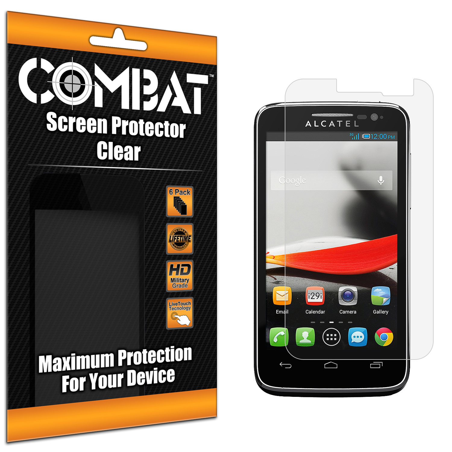 Alcatel One Touch Evolve 5020T Combat 6 Pack HD Clear Screen Protector