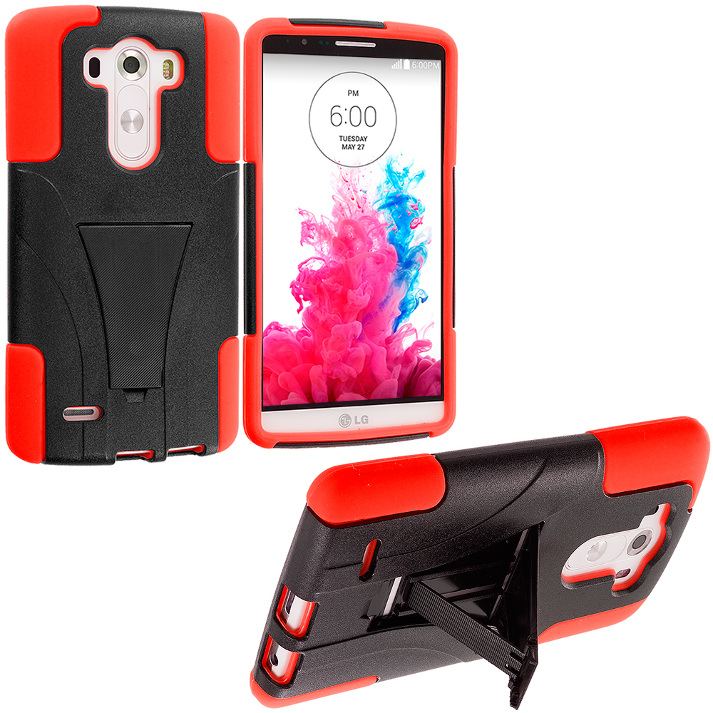 LG G3 Black / Orange Hybrid Hard/Silicone Case Cover with Stand