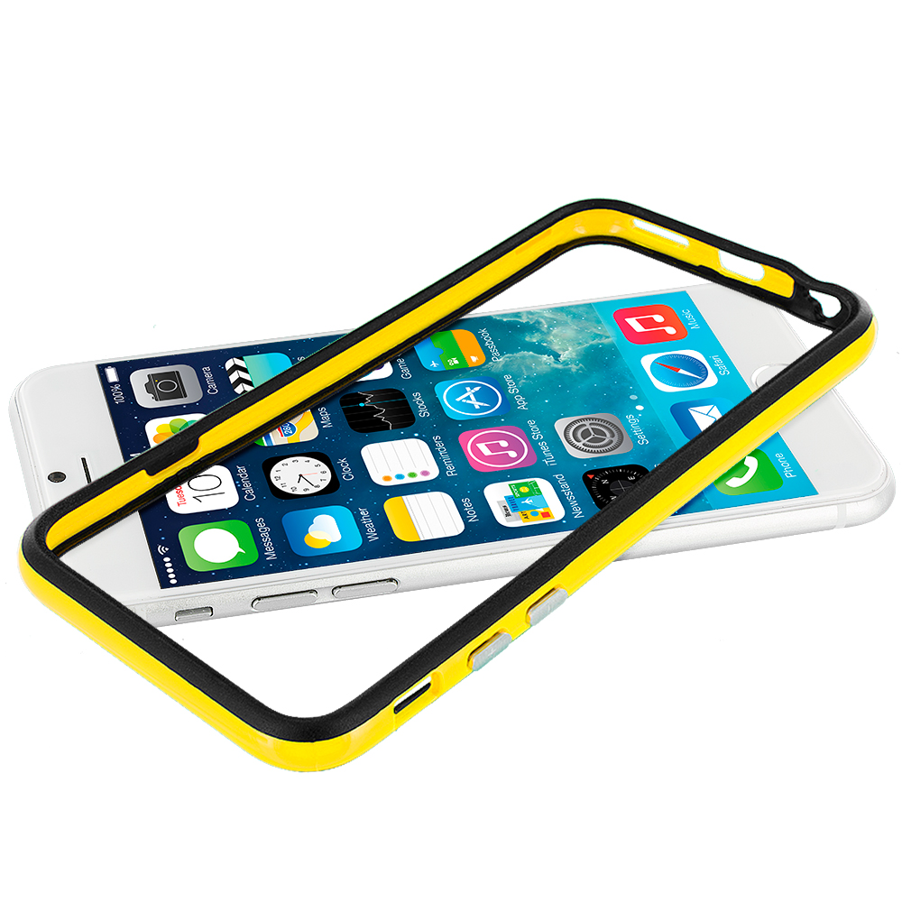 Apple iPhone 6 6S (4.7) Black / Yellow TPU Bumper with Metal Buttons