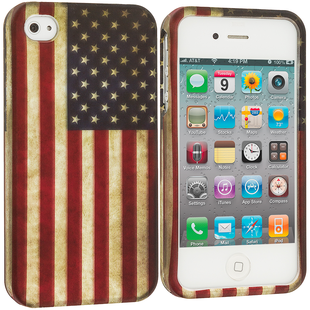 Apple iPhone 4 / 4S USA Flag2D Hard Rubberized Design Case Cover