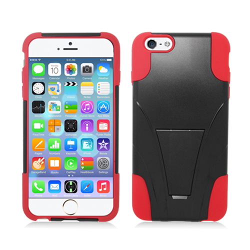 Apple iPhone 6 Plus 6S Plus (5.5) Black / Red Hybrid Hard/Silicone Case Cover with Stand