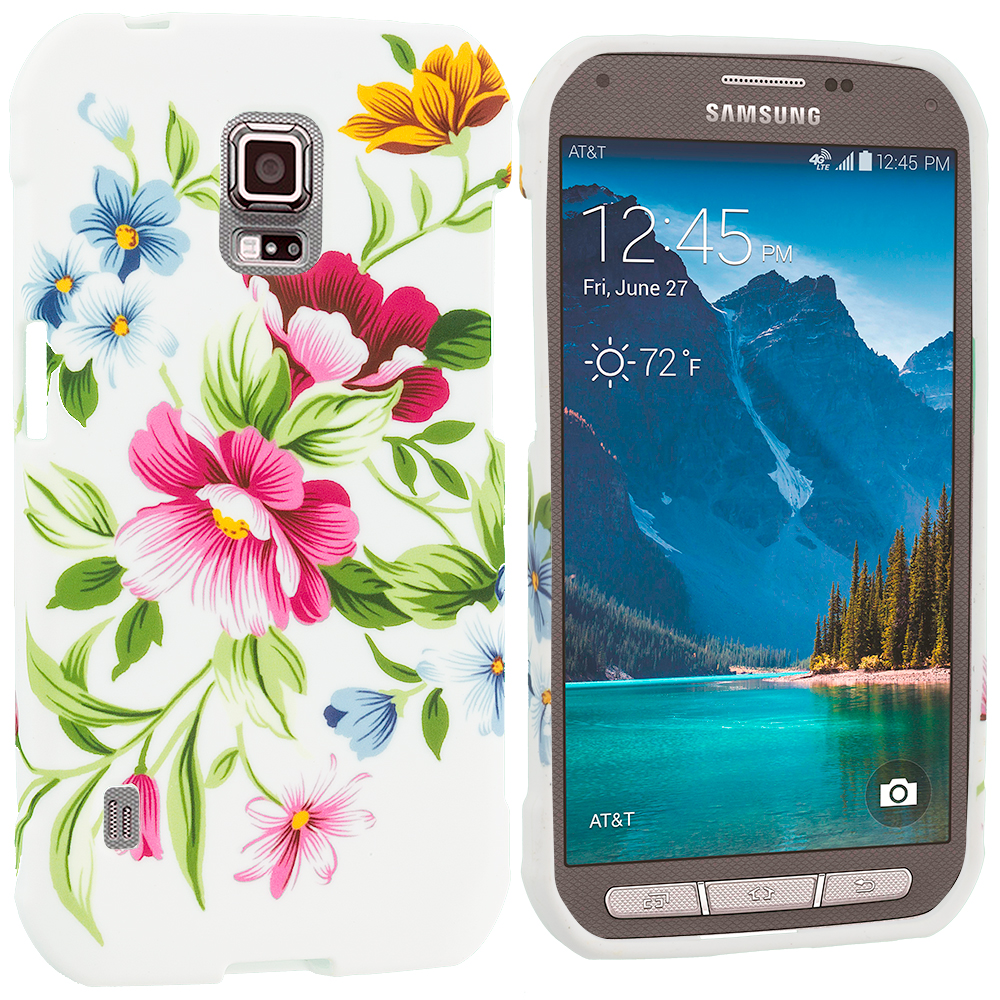 Samsung Galaxy S5 Active Flower Painting TPU Design Soft Rubber Case Cover