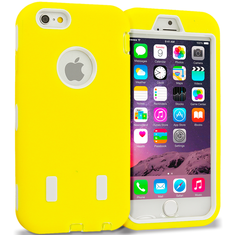 Apple iPhone 6 6S (4.7) Yellow / White Hybrid Deluxe Hard/Soft Case Cover