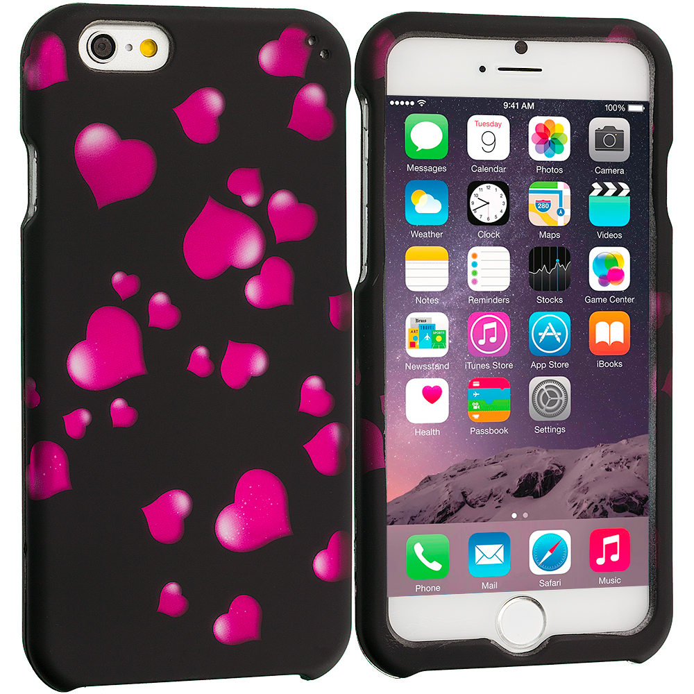 Apple iPhone 6 Raining Hearts 2D Hard Rubberized Design Case Cover