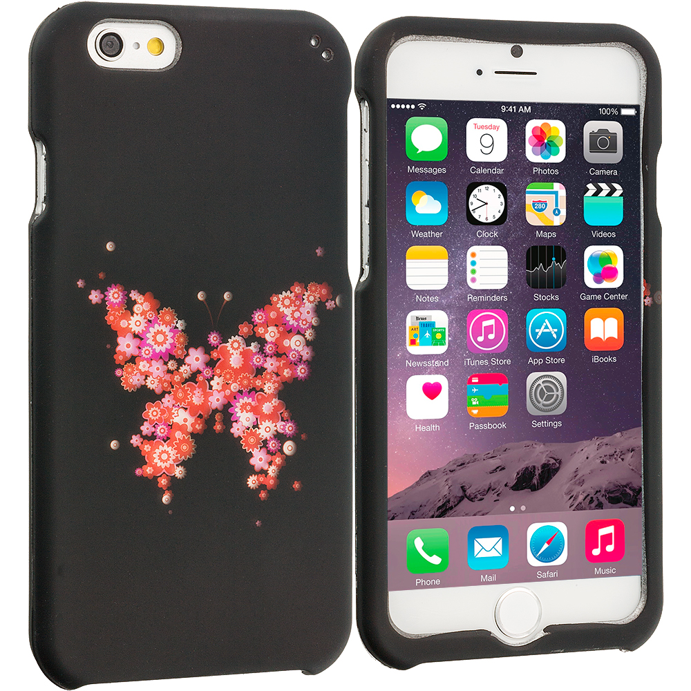 Apple iPhone 6 6S (4.7) Butterfly Hearts 2D Hard Rubberized Design Case Cover