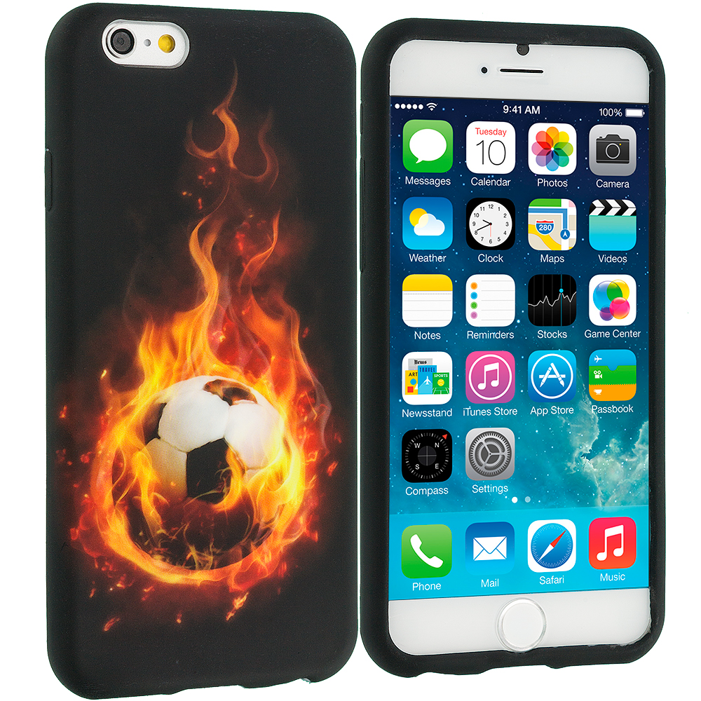 Apple iPhone 6 Plus 6S Plus (5.5) Flaming Soccer Ball TPU Design Soft Rubber Case Cover
