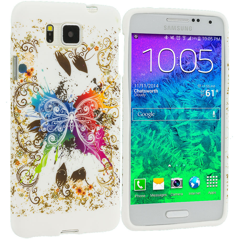 Samsung Galaxy Alpha G850 Colorful Butterfly TPU Design Soft Rubber Case Cover