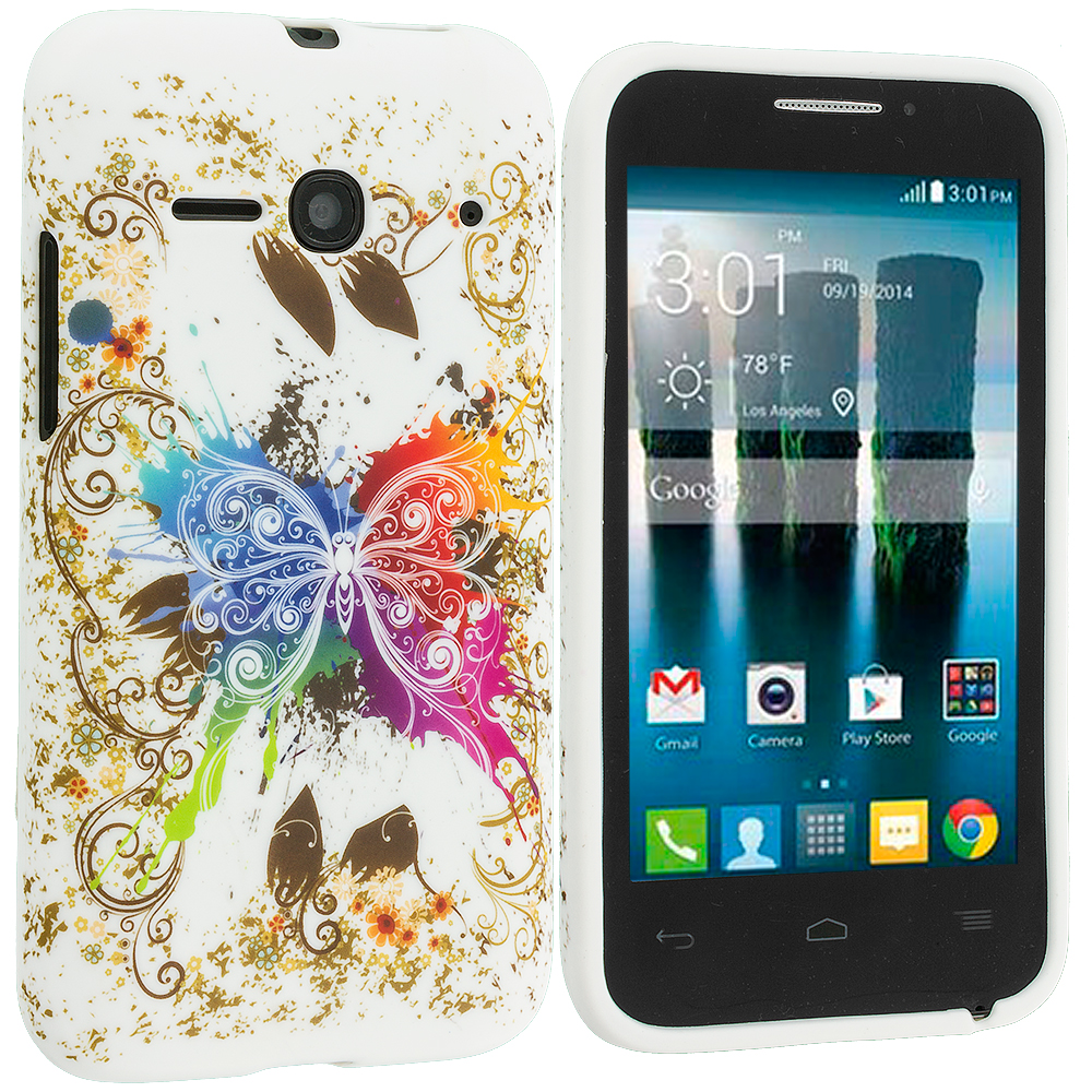 Alcatel One Touch Evolve 2 Colorful Butterfly TPU Design Soft Rubber Case Cover