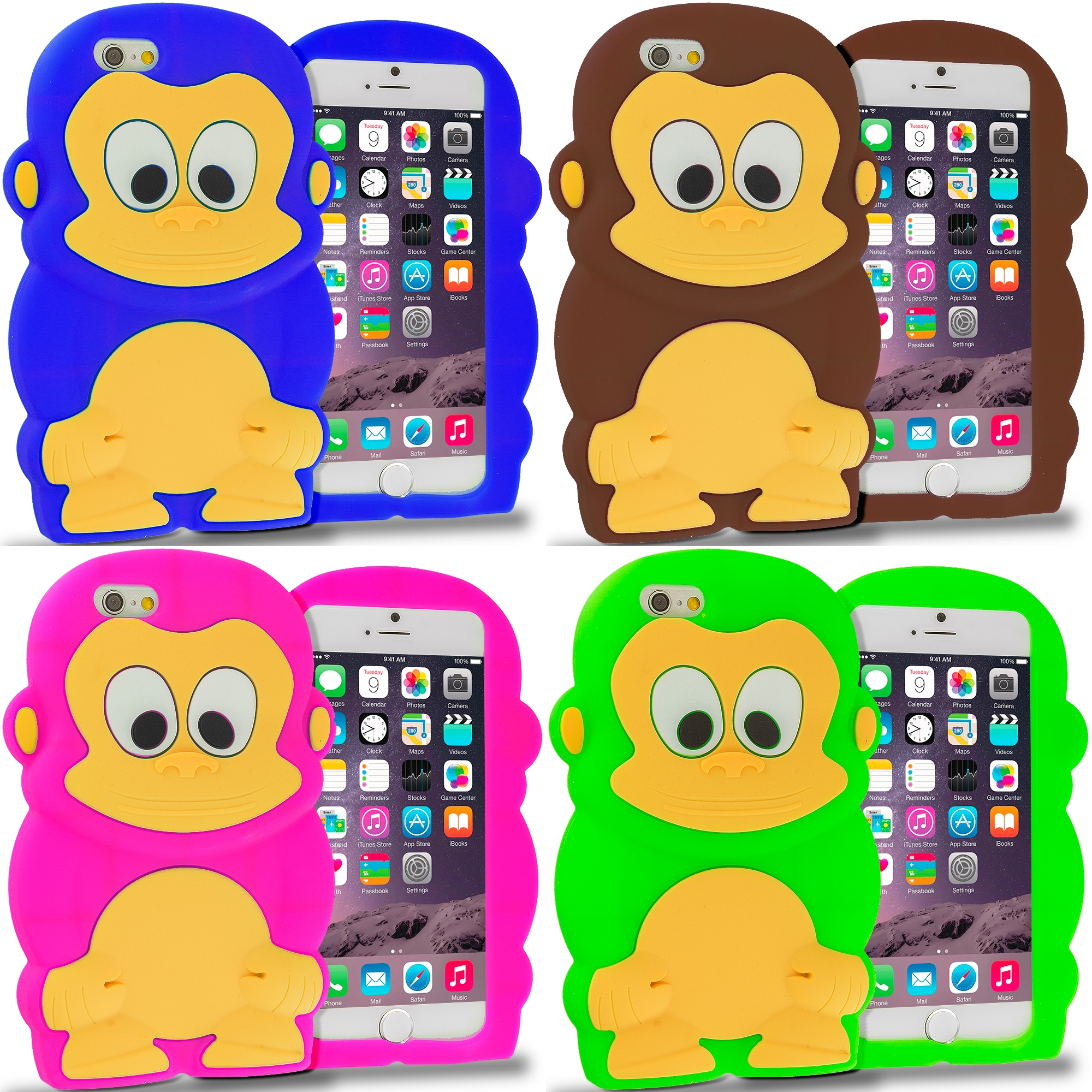 Apple iPhone 6 6S (4.7) 4 in 1 Combo Bundle Pack - Monkey Silicone Design Soft Skin Case Cover