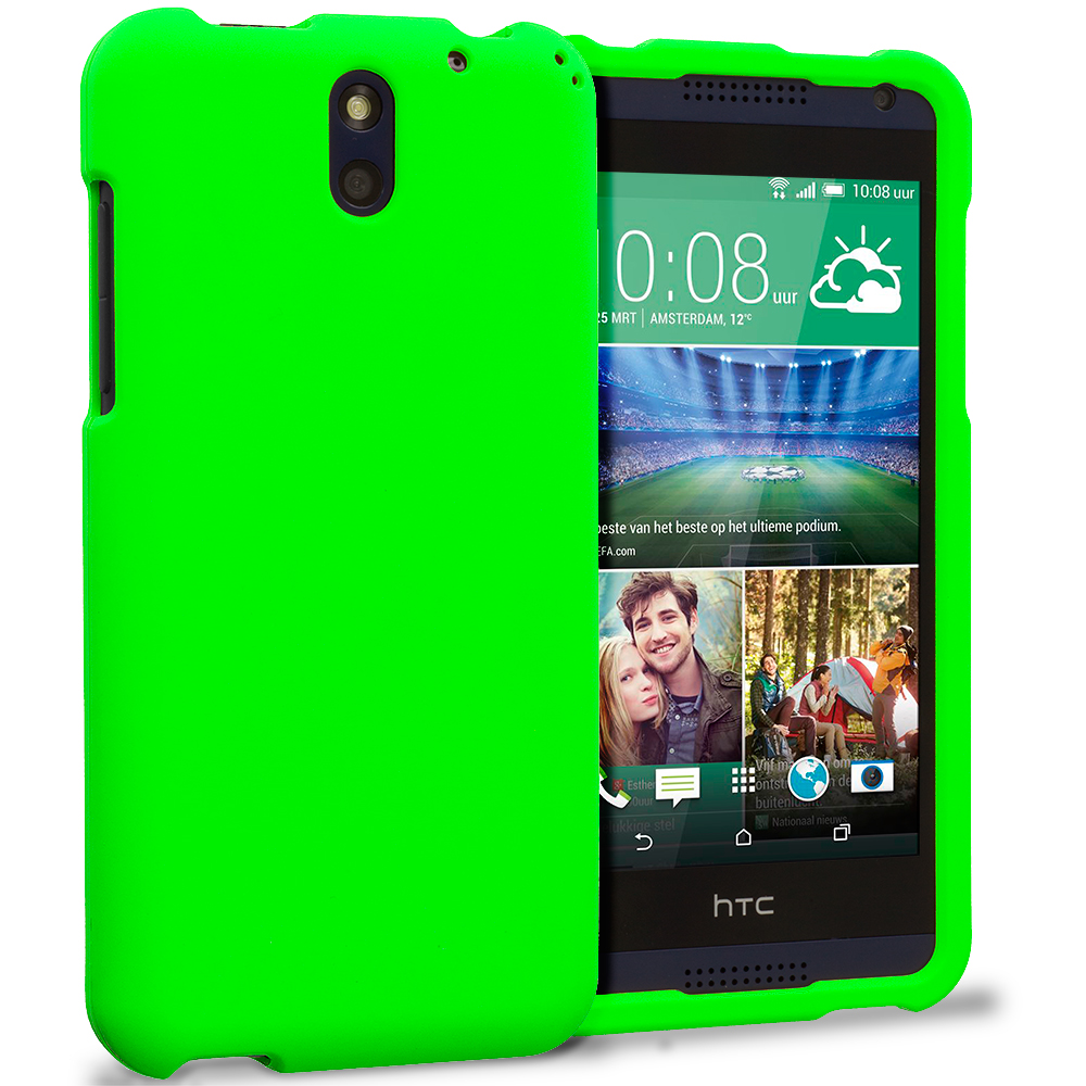 HTC Desire 610 Neon Green Hard Rubberized Case Cover