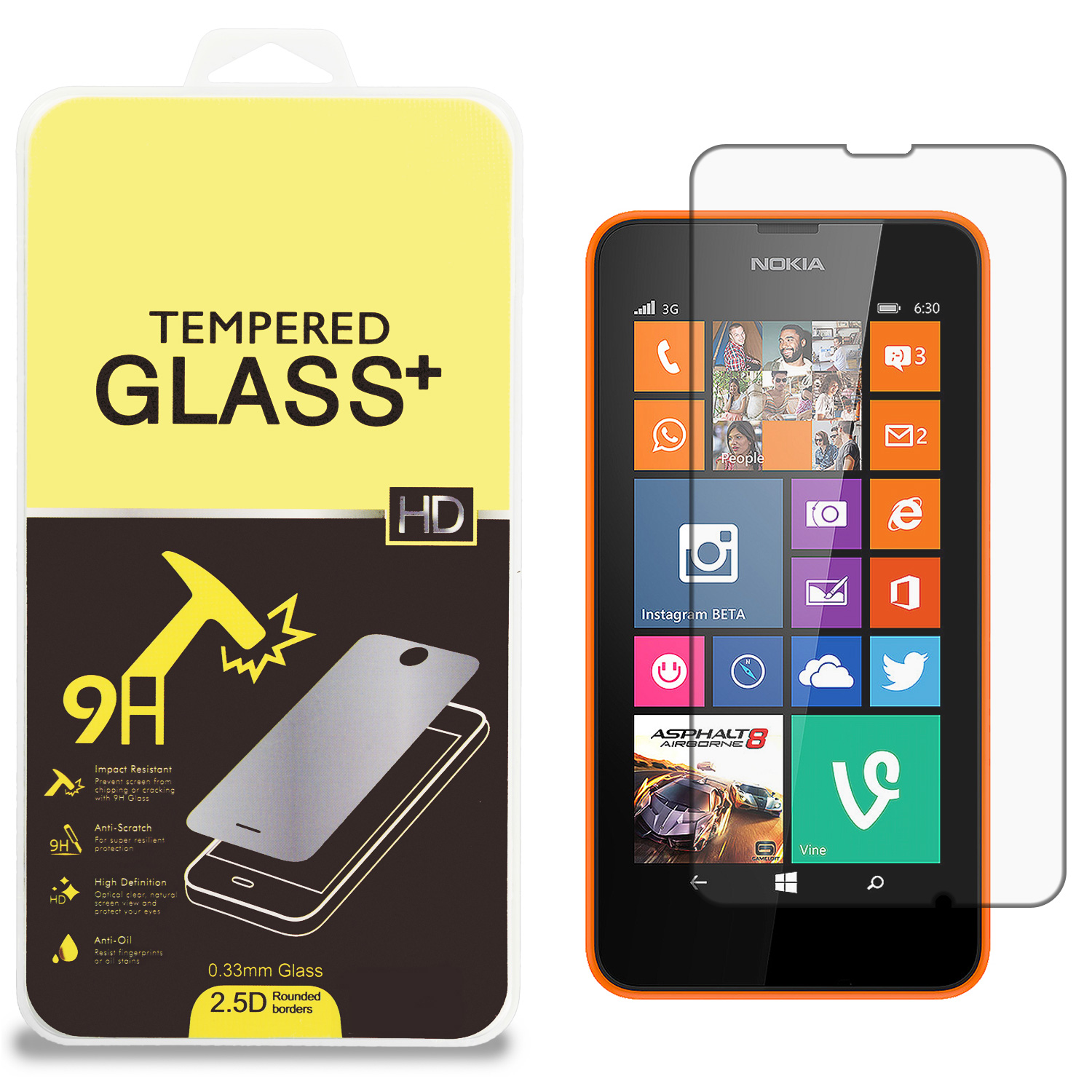 Nokia Lumia 630 635 Clear Tempered Glass High Quality 0.33mm LCD Screen Protector