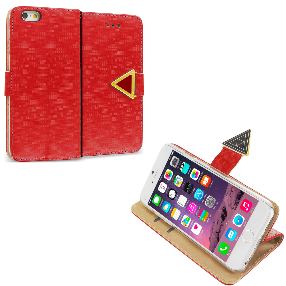Apple iPhone 6 6S (4.7) Red Luxury Wallet Diamond Pixels Design Case Cover With Slots