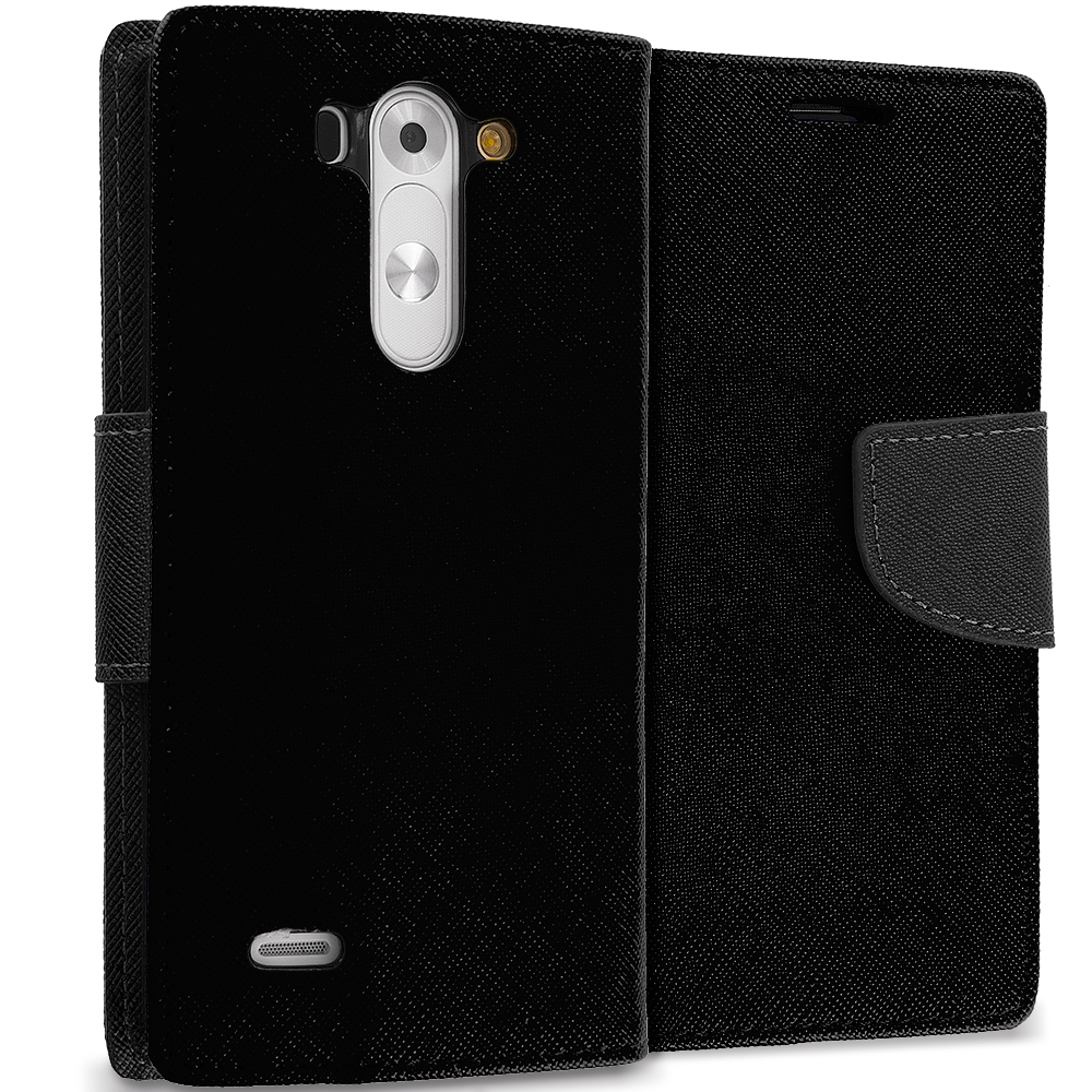 LG G Vista Black / Black Leather Flip Wallet Pouch TPU Case Cover with ID Card Slots