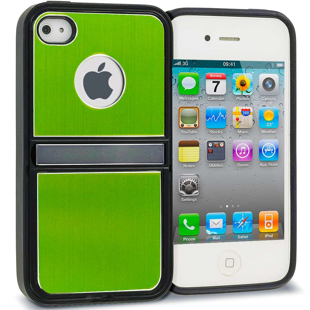 Apple iPhone 4 / 4S Green Brushed Stand Aluminum Metal Hard Case Cover