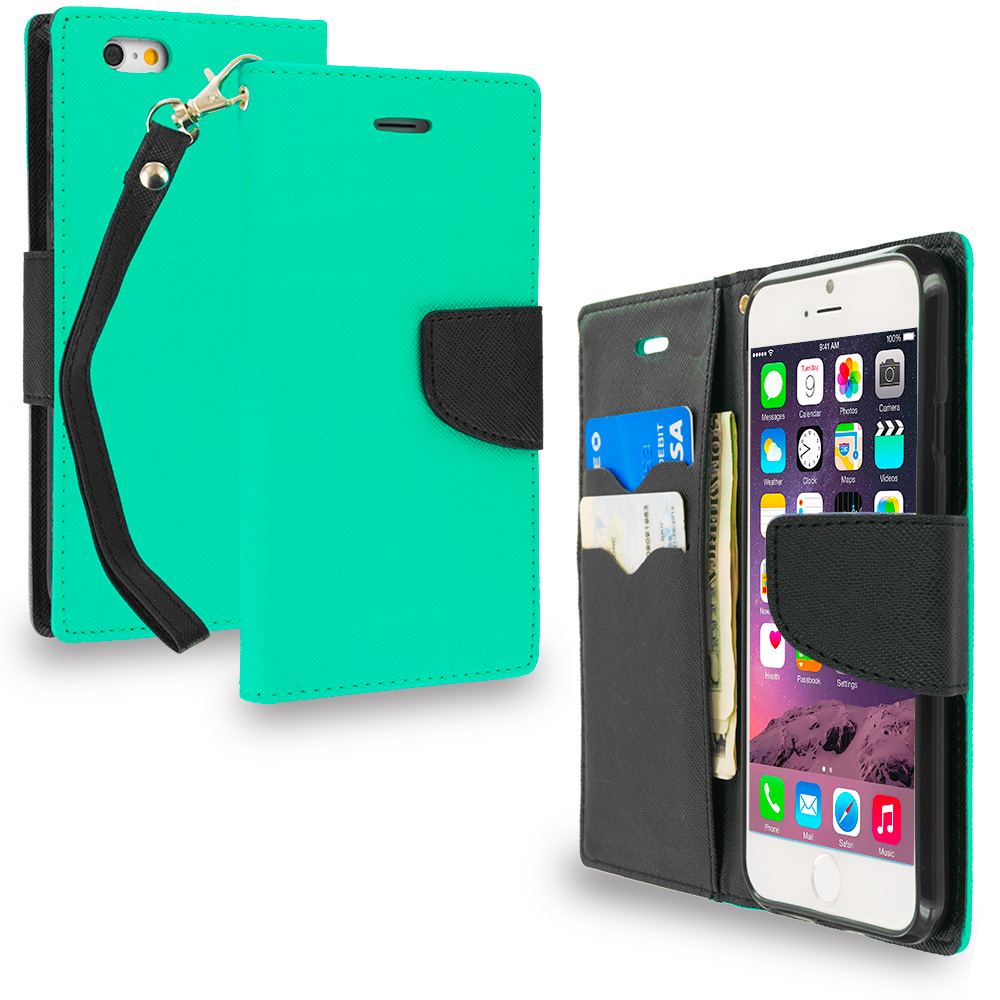 Apple iPhone 6 6S (4.7) Mint Green / Black Leather Flip Wallet Pouch TPU Case Cover with ID Card Slots