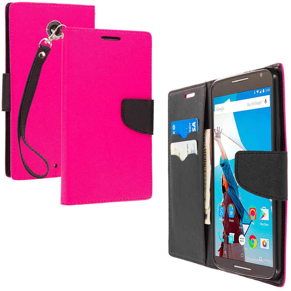 Motorola Google Nexus 6 Hot Pink / Black Leather Flip Wallet Pouch TPU Case Cover with ID Card Slots