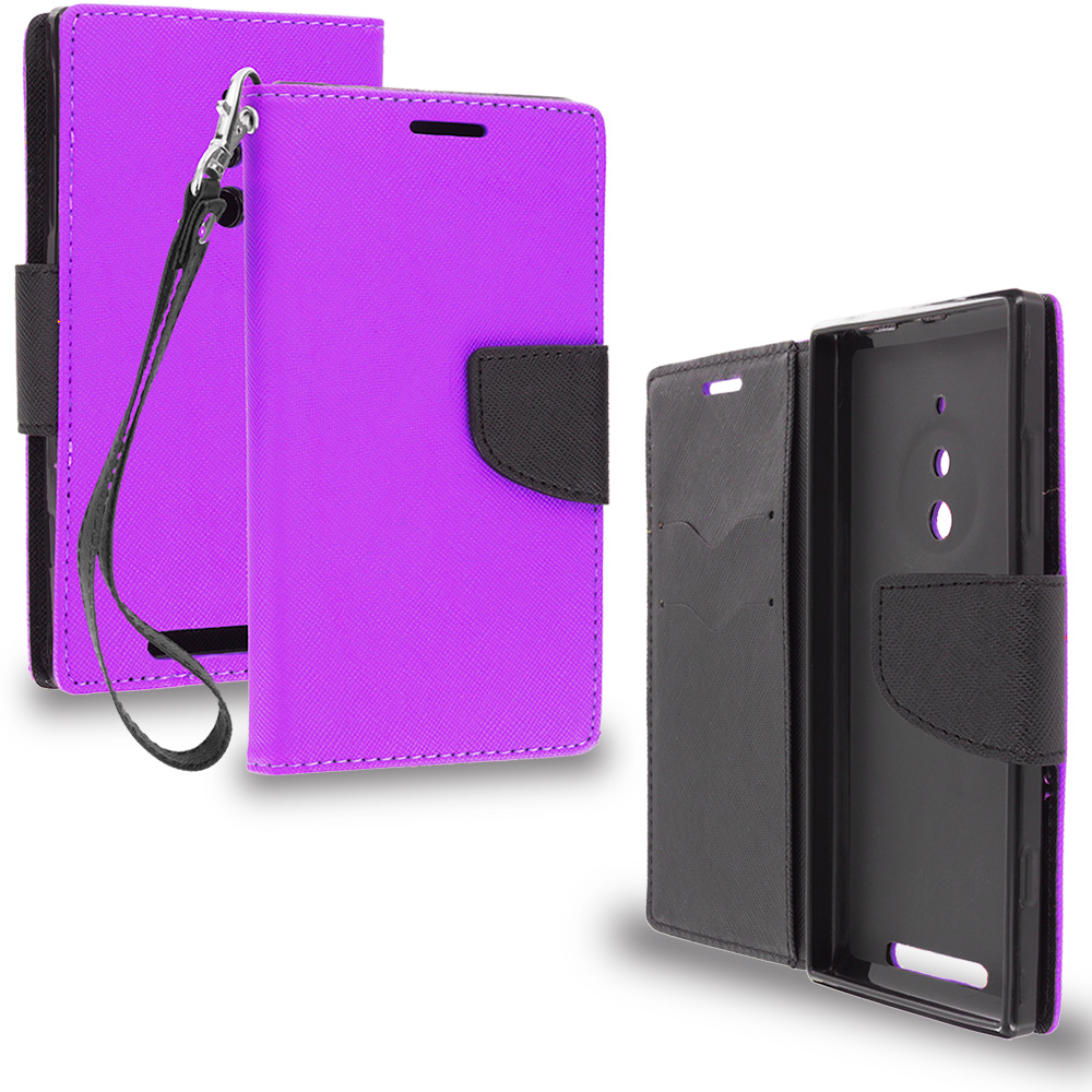 Nokia Lumia 830 Purple / Black Leather Flip Wallet Pouch TPU Case Cover with ID Card Slots