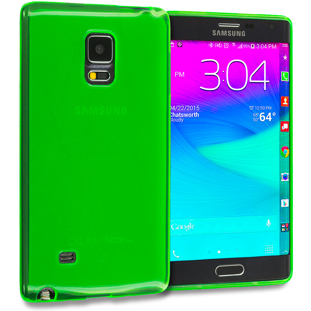 Samsung Galaxy Note Edge Neon Green TPU Rubber Skin Case Cover