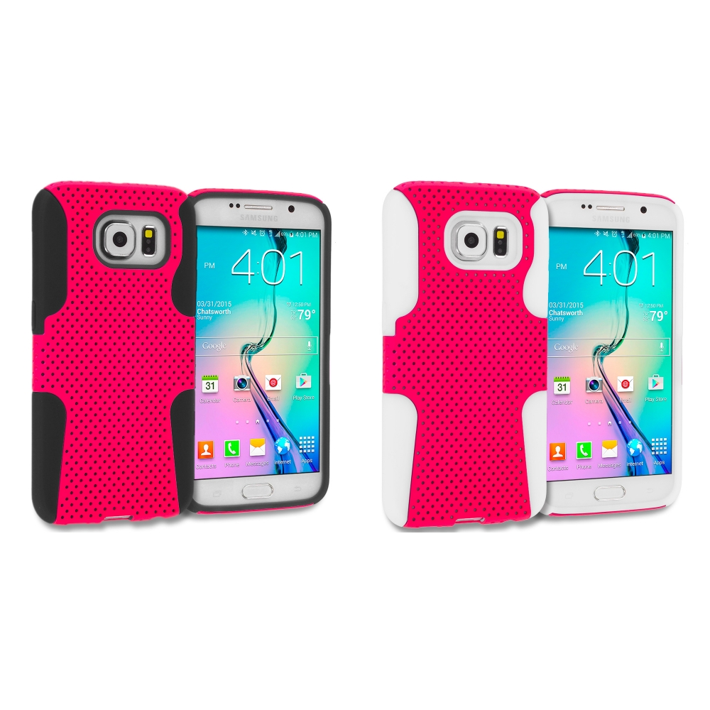 Samsung Galaxy S6 Combo Pack : Black / Hot Pink Hybrid Mesh Hard/Soft Case Cover
